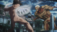 Eren battles the Armored Titan