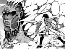 Eren faces the Colossal Titan