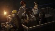 L'équipe de Livaï allant à la rescousse d'Eren