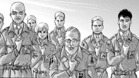 Zackly and the other senior military members salute the departing Survey Corps