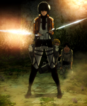 Mikasa threatens the soldiers