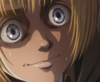 Armin lies to Bertholdt about Annie