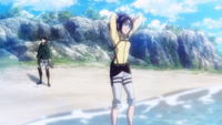 Hange and Levi at the ocean