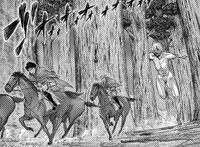 The Female Titan chases Squad Levi