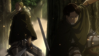 Erwin has Levi refill his gas and blades