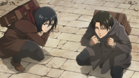 Levi and Mikasa see the enemy take the bait