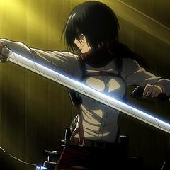 Mikasa reta a Annie.