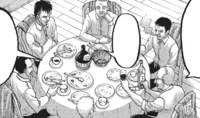 Military Policemen discuss matters over dinner