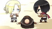 Mikasa and Annie prepare to face off