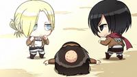 Mikasa and Annie prepare to face off