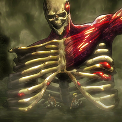 Eren protege a Armin y a Mikasa.