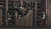 Mikasa spin kicks Flegel