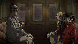 Wald und Annie diskutieren ihre jeweiligen Verwicklungen in dem Fall