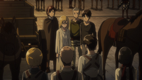 Levi informs Historia of Erwin's orders to be Queen