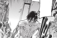 Armored Titan climbing down Wall Maria