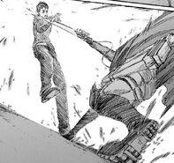 Mikasa attacks Bertolt