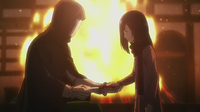 Mirror Man hands Mikasa a knife