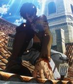 Injured Eren stands up
