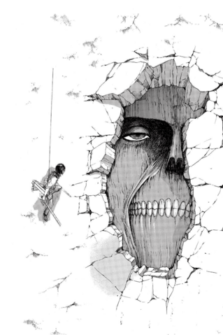 File:Mikasa and the Wall Titan.png