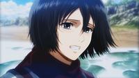 Mikasa smiles on the sea