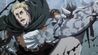 Erwin gets hit by a rock