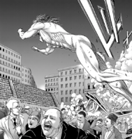 Eren throws himself towards the crowd