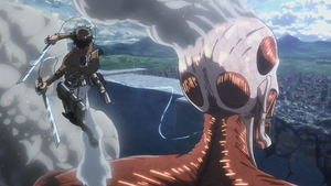 Eren finally takes out the Colossal Titan