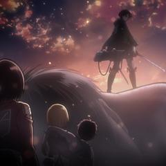 Levi rescata a Eren, Armin y Mikasa.