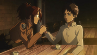 Hange is excited at Eren's interest in their work