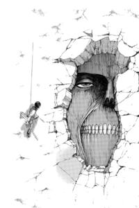 Mikasa osserva il Gigante nelle Mura