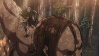 Conny hits Ymir's Titan head