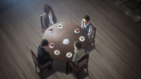 Hange and Levi have tea with the reporters