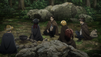 Squad Levi camps in the woods