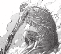 The Colossus Titan appears for the battle of Shiganshina