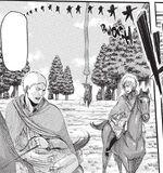 Jean, Armin et Reiner poursuivant le titan Féminin