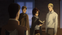 Erwin is informed of the Interior Squad outside