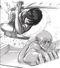 Mikasa stops Annie