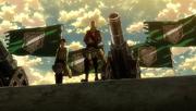 Pixis et Eren face aux soldats
