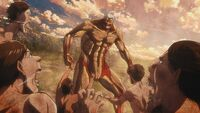 Titans charge at the Armored Titan