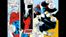 The cat throws herself into the water pretending to fall to escape, to Spider-Man