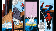 Felicia throws herself back into the water to escape Spider-Man, and he still believes she is drowned.