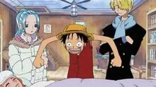 One Piece-Nami is sick concerned Luffy stays by her side trying to make her laugh