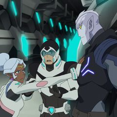 "Shiro tells Allura, <i>""Stop! It's him! This is the Galra who set me free!""</i>"