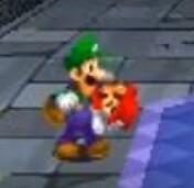 Luigi holds mario dt