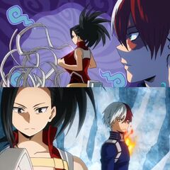 Todoroki looking away as Momo recreates Aizawa's scarf