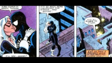 Spider-Man and the Black Cat celebrate the return of the first.