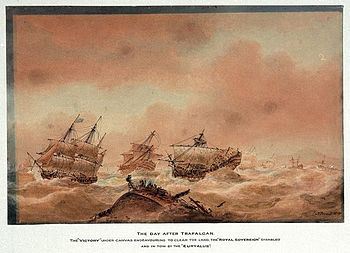 File:350px-The day after Trafalgar; the 'Victory' trying to clear the land with the 'Royal Soveriegn' in tow to the 'Euryalus'.jpg