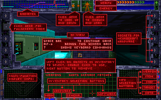 System Shock 1 Screen Help Overlay