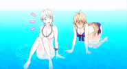 Erina and Alice at the pool