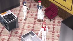 Kojiro explaining himself to Soma and Megumi